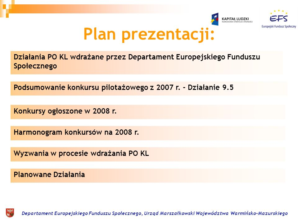 Departament Europejskiego Funduszu Społecznego, Urząd Marszałkowski Województwa Warmińsko-Mazurskiego Plan prezentacji: Działania PO KL wdrażane przez Departament Europejskiego Funduszu Społecznego Podsumowanie konkursu pilotażowego z 2007 r.