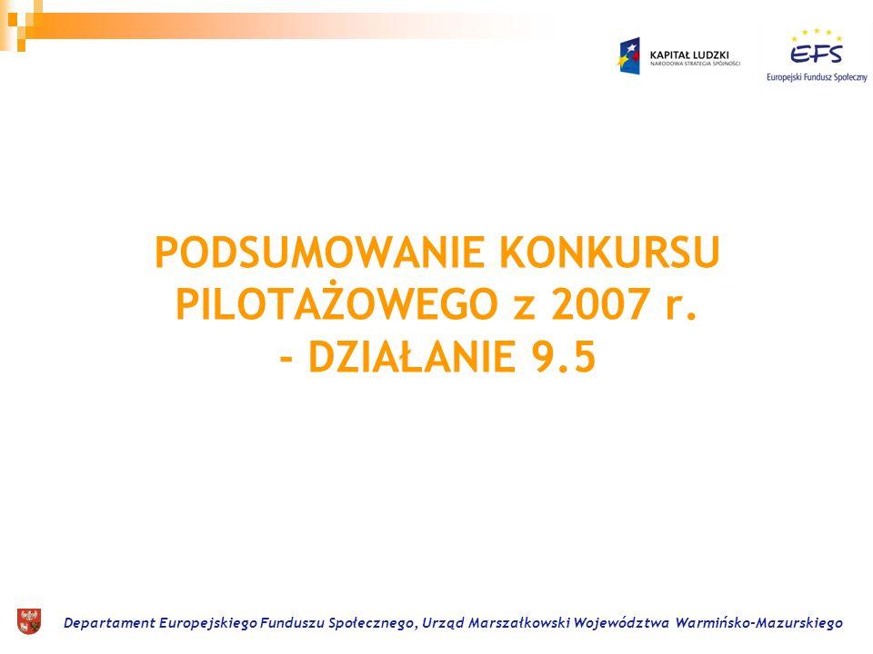 Departament Europejskiego Funduszu Społecznego, Urząd Marszałkowski Województwa Warmińsko-Mazurskiego Działanie 9.5 Oddolne inicjatywy edukacyjne na obszarach wiejskich.