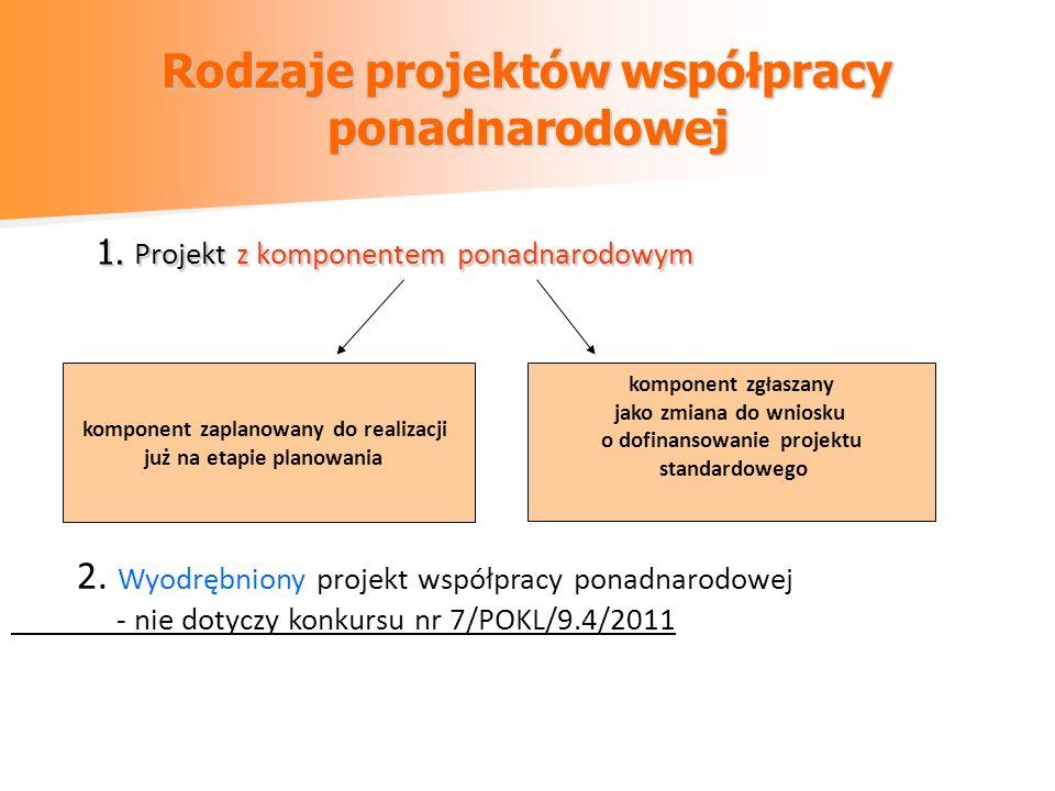 Rodzaje projektów współpracy ponadnarodowej 1. Projekt z komponentem ponadnarodowym komponent zaplanowany do realizacji już na etapie planowania kompo