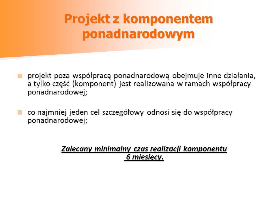 Projekt z komponentem ponadnarodowym projekt poza współpracą ponadnarodową obejmuje inne działania, a tylko część (komponent) jest realizowana w ramac