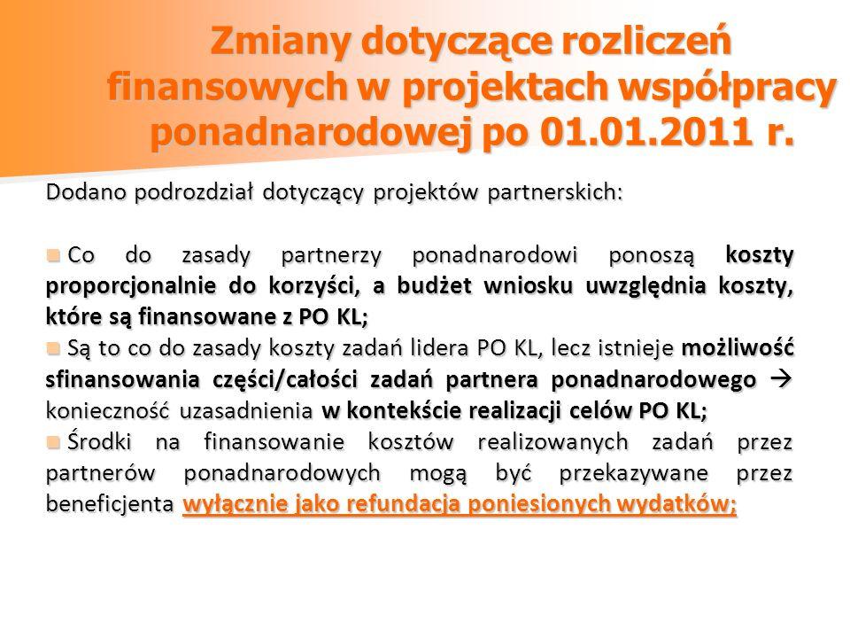 Zmiany dotyczące rozliczeń finansowych w projektach współpracy ponadnarodowej po 01.01.2011 r. Dodano podrozdział dotyczący projektów partnerskich: Co