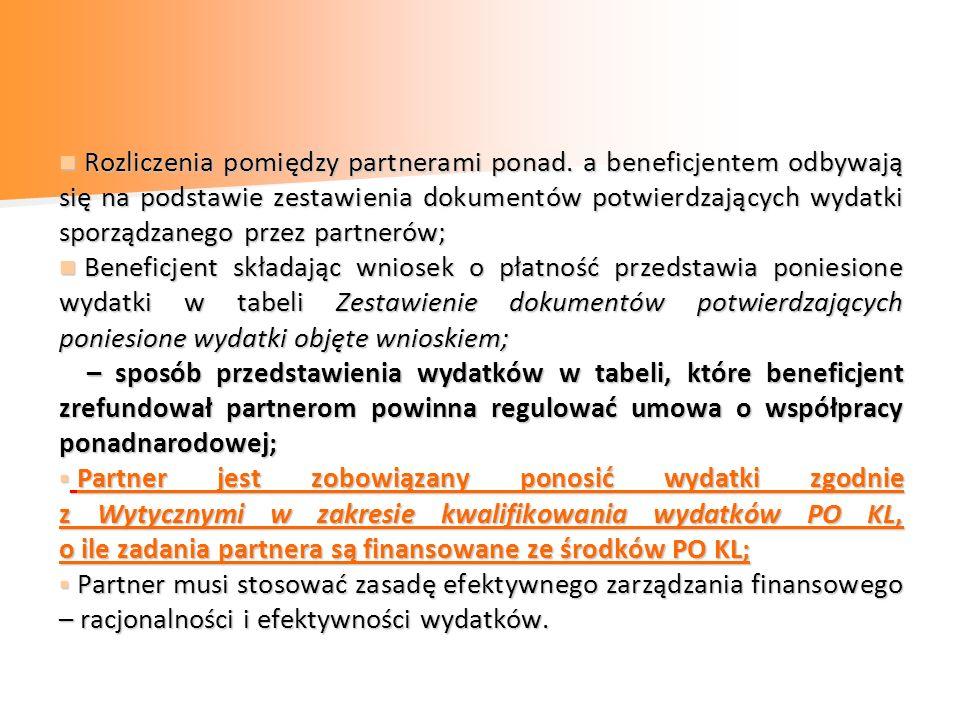 Rozliczenia pomiędzy partnerami ponad. a beneficjentem odbywają się na podstawie zestawienia dokumentów potwierdzających wydatki sporządzanego przez p