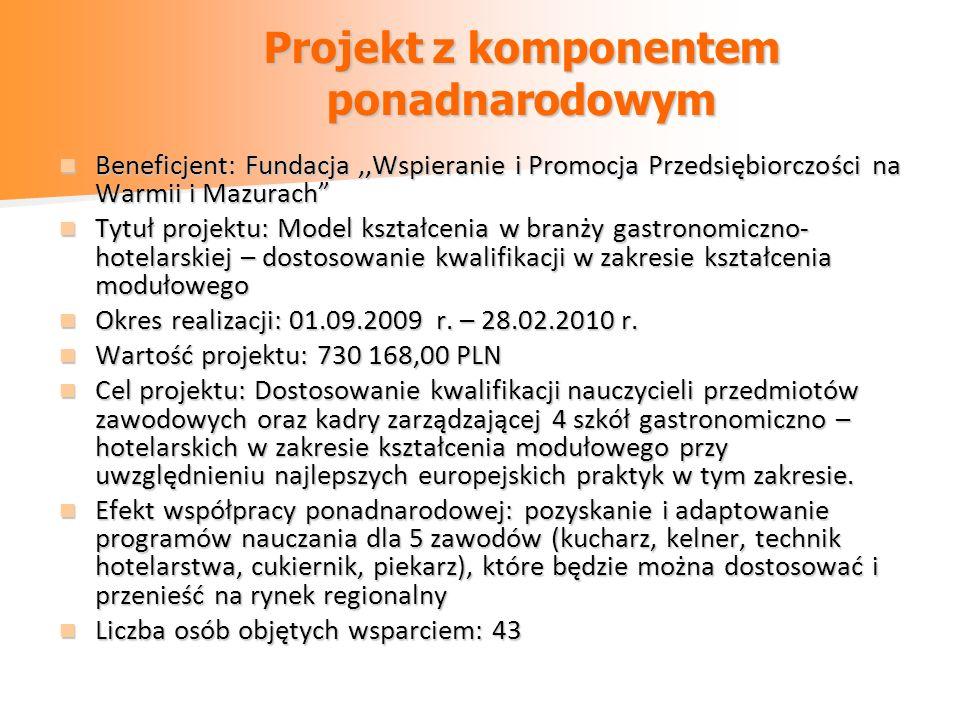 Beneficjent: Fundacja,,Wspieranie i Promocja Przedsiębiorczości na Warmii i Mazurach Beneficjent: Fundacja,,Wspieranie i Promocja Przedsiębiorczości na Warmii i Mazurach Tytuł projektu: Model kształcenia w branży gastronomiczno- hotelarskiej – dostosowanie kwalifikacji w zakresie kształcenia modułowego Tytuł projektu: Model kształcenia w branży gastronomiczno- hotelarskiej – dostosowanie kwalifikacji w zakresie kształcenia modułowego Okres realizacji: 01.09.2009 r.