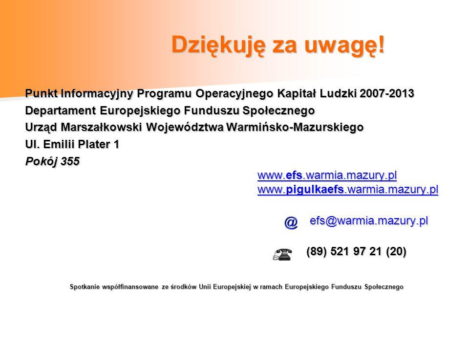 Dziękuję za uwagę! Dziękuję za uwagę! Punkt Informacyjny Programu Operacyjnego Kapitał Ludzki 2007-2013 Departament Europejskiego Funduszu Społecznego