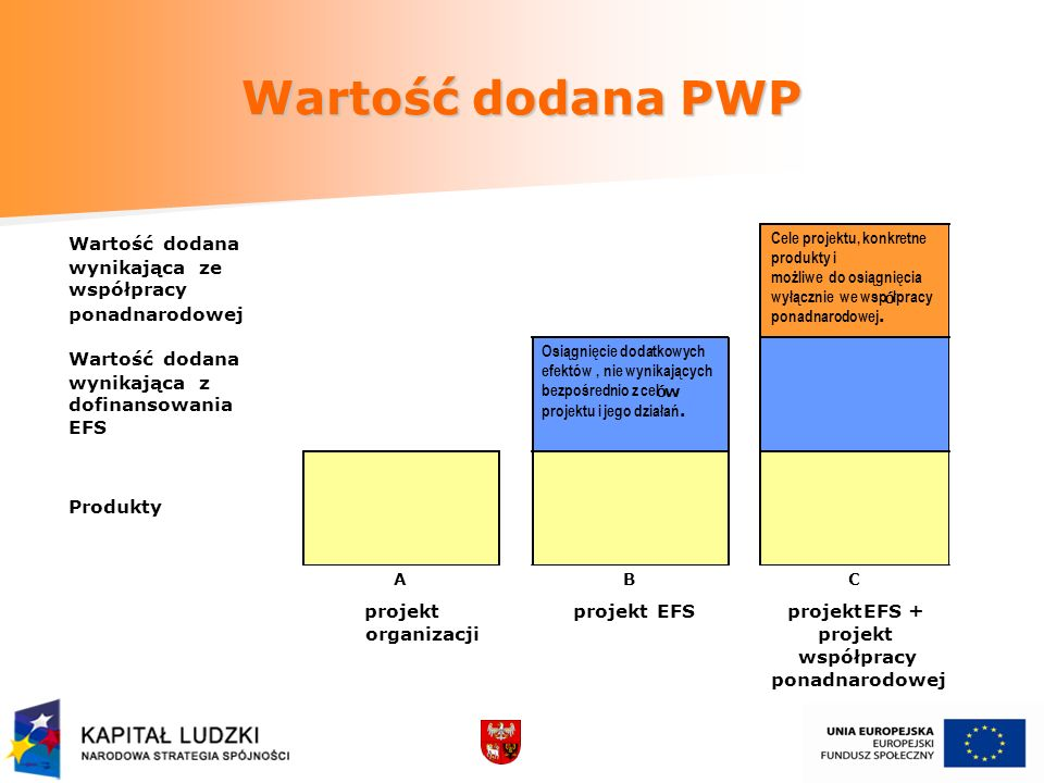 Wartość dodana PWP Wartośćdodana wynikającaze współpracy ponadnarodowej Cele projektu, konkretne produkty i możliwe do osiągnięcia wyłącznie we wsp ó łpracy ponadnarodowej.