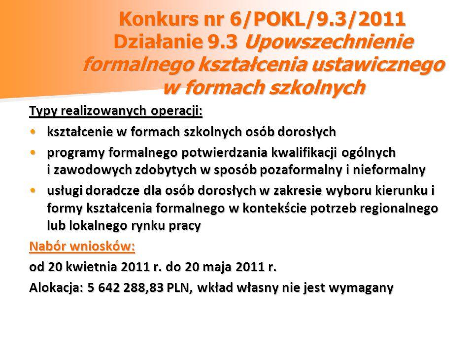 Konkurs nr 6/POKL/9.3/2011 Działanie 9.3 Upowszechnienie formalnego kształcenia ustawicznego w formach szkolnych Typy realizowanych operacji: kształce