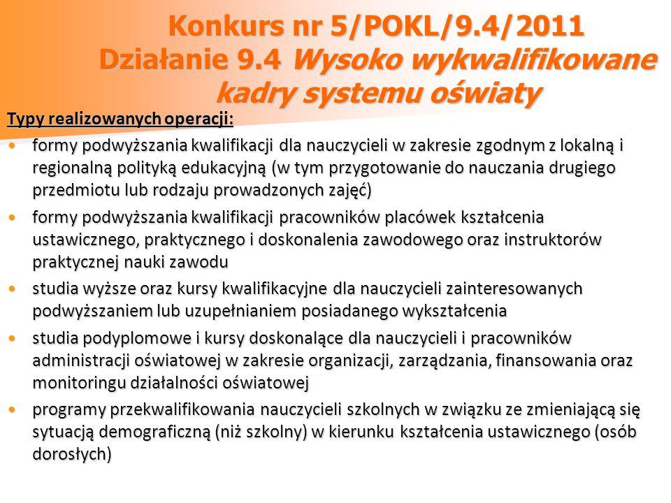 Konkurs nr 5/POKL/9.4/2011 Działanie 9.4 Wysoko wykwalifikowane kadry systemu oświaty Typy realizowanych operacji: formy podwyższania kwalifikacji dla