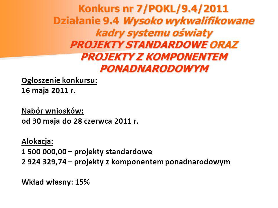 Konkurs nr 7/POKL/9.4/2011 Działanie 9.4 Wysoko wykwalifikowane kadry systemu oświaty PROJEKTY STANDARDOWE ORAZ PROJEKTY Z KOMPONENTEM PONADNARODOWYM Ogłoszenie konkursu: 16 maja 2011 r.