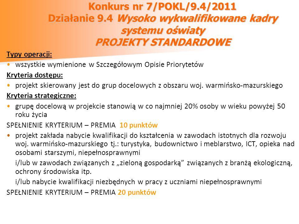 Konkurs nr 7/POKL/9.4/2011 Działanie 9.4 Wysoko wykwalifikowane kadry systemu oświaty PROJEKTY STANDARDOWE Typy operacji: wszystkie wymienione w Szcze