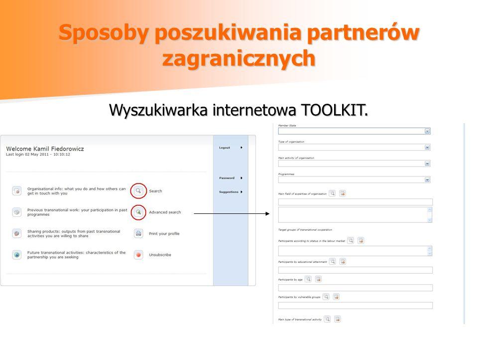 Sposoby poszukiwania partnerów zagranicznych Wyszukiwarka internetowa TOOLKIT.