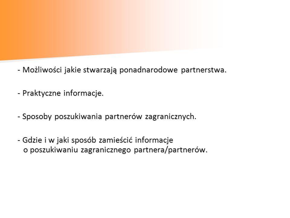 Możliwości jakie stwarzają ponadnarodowe partnerstwa - Wykorzystanie międzynarodowego doświadczenia i wiedzy zagranicznych partnerów.