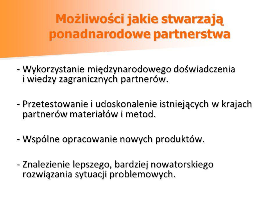 Praktyczne informacje - partner może pochodzić z dowolnego państwa (również z poza UE), - rekomendowana maksymalna liczba partnerów – nie więcej niż 3, - język komunikowania się z zagranicznymi partnerami – języki najbardziej popularne, - obowiązek publikacji w BIP ogłoszenia o poszukiwaniu partnera zgodnie z ust.