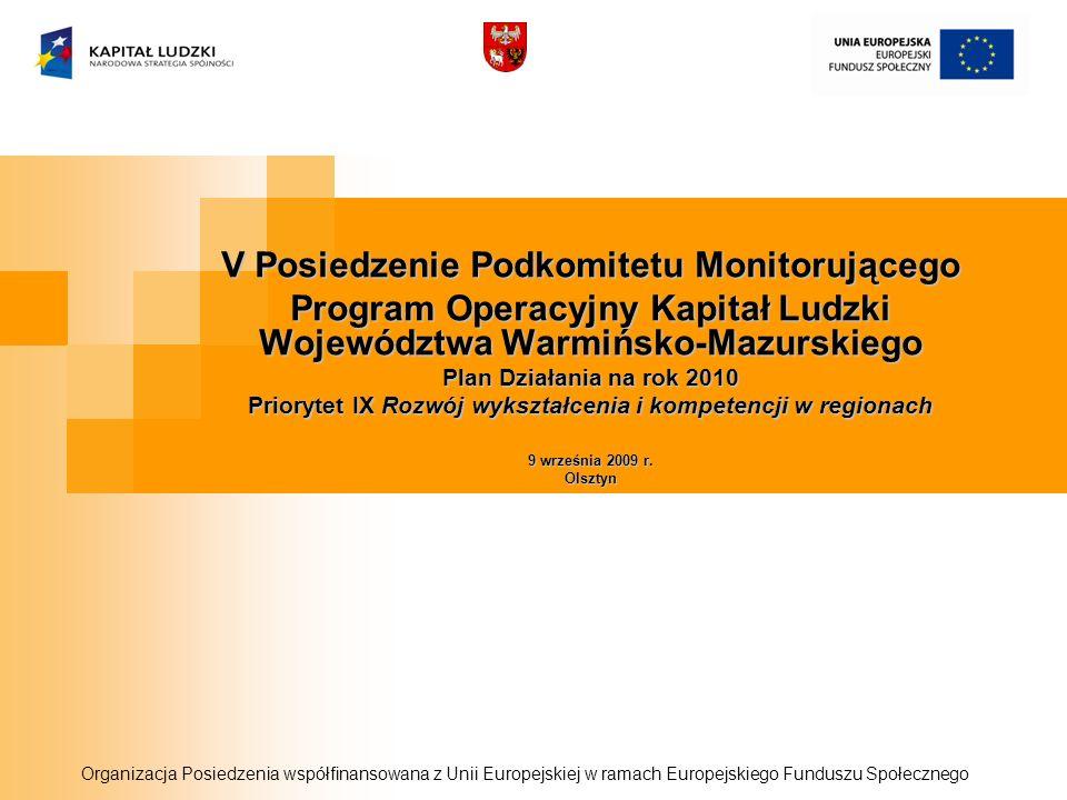 V Posiedzenie Podkomitetu Monitorującego Program Operacyjny Kapitał Ludzki Województwa Warmińsko-Mazurskiego Plan Działania na rok 2010 Priorytet IX Rozwój wykształcenia i kompetencji w regionach 9 września 2009 r.
