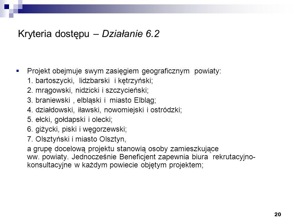20 Kryteria dostępu – Działanie 6.2 Projekt obejmuje swym zasięgiem geograficznym powiaty: 1.