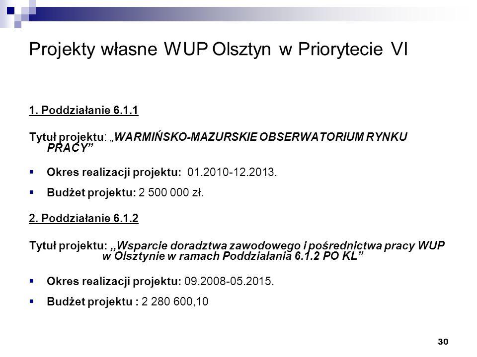 30 Projekty własne WUP Olsztyn w Priorytecie VI 1.