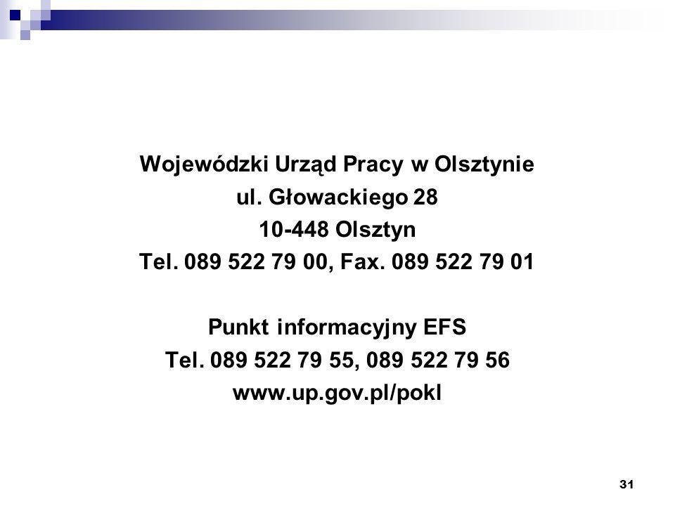 31 Wojewódzki Urząd Pracy w Olsztynie ul. Głowackiego 28 10-448 Olsztyn Tel.