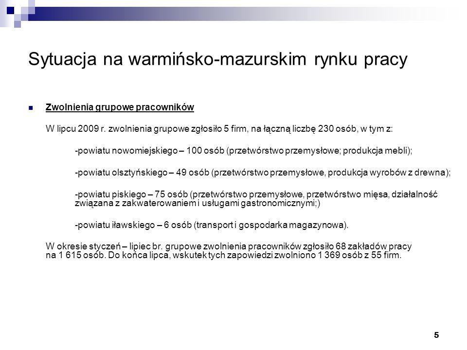 5 Sytuacja na warmińsko-mazurskim rynku pracy Zwolnienia grupowe pracowników W lipcu 2009 r.
