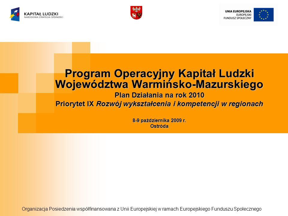 Program Operacyjny Kapitał Ludzki Województwa Warmińsko-Mazurskiego Plan Działania na rok 2010 Priorytet IX Rozwój wykształcenia i kompetencji w regionach 8-9 października 2009 r.