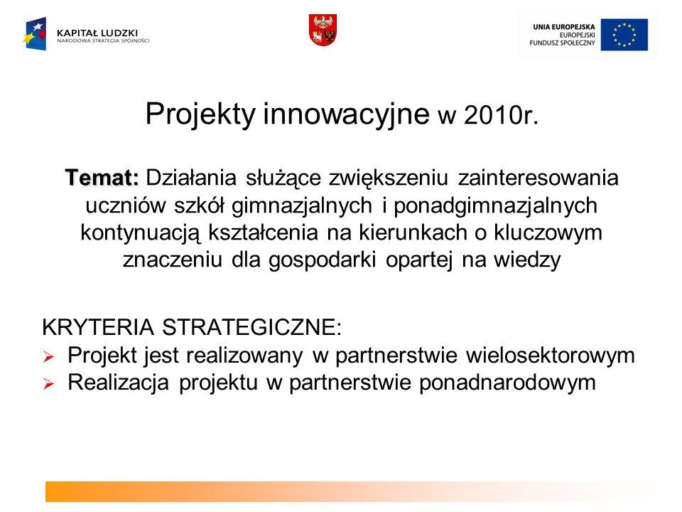 Projekty współpracy ponadnarodowej w 2010 roku NAJWAŻNIEJSZE KRYTERUM DOSTĘPU: Kompleksowość – zastosowanie co najmniej dwóch form działań kwalifikowanych w ramach współpracy w tym adaptowanie rozwiązań wypracowanych w innym kraju