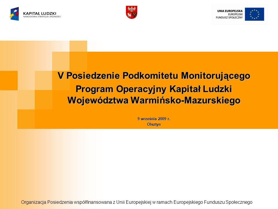 V Posiedzenie Podkomitetu Monitorującego Program Operacyjny Kapitał Ludzki Województwa Warmińsko-Mazurskiego 9 września 2009 r. Olsztyn Organizacja Po