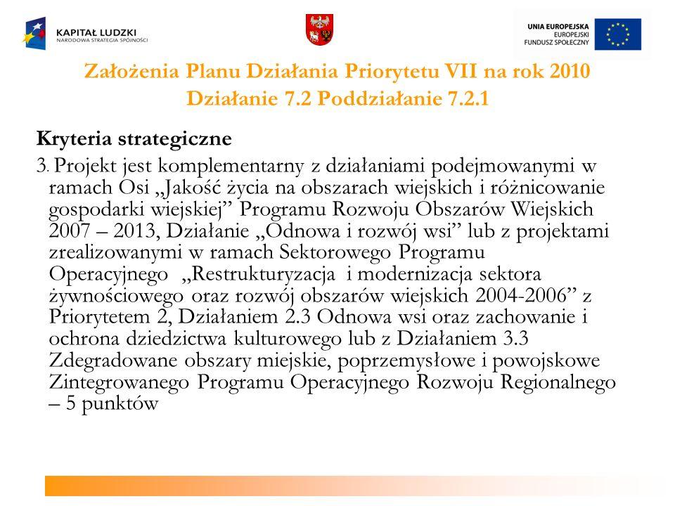 Założenia Planu Działania Priorytetu VII na rok 2010 Działanie 7.2 Poddziałanie 7.2.1 Kryteria strategiczne 3. Projekt jest komplementarny z działania
