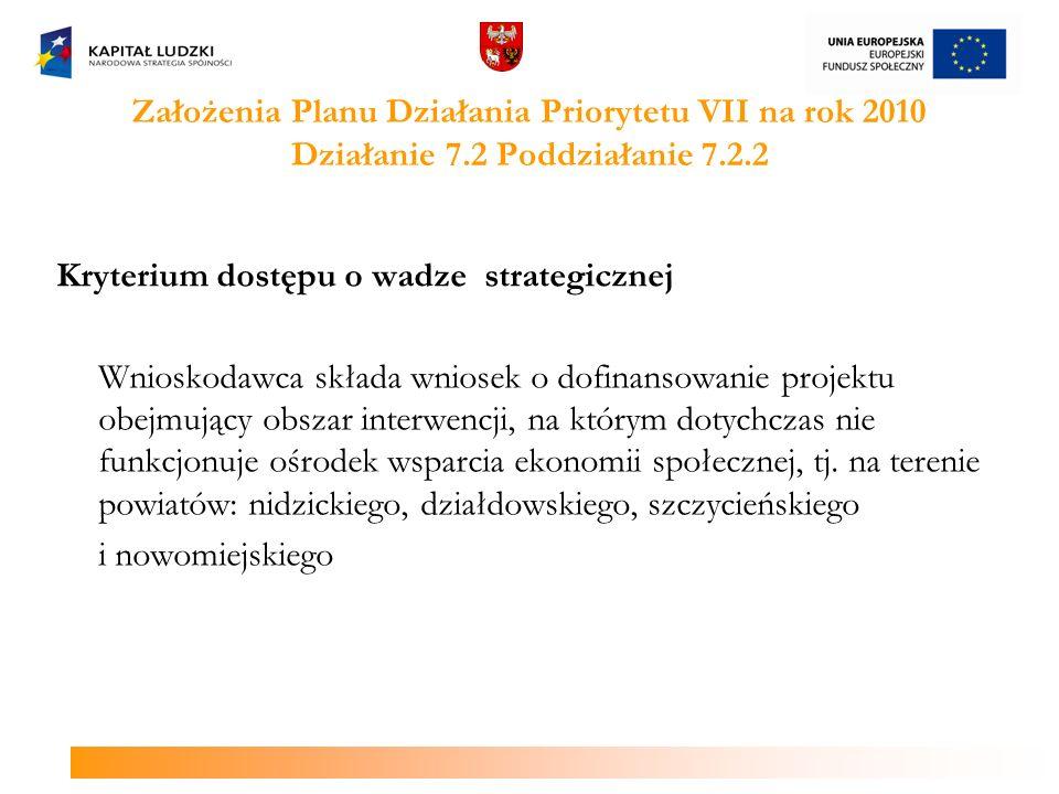 Założenia Planu Działania Priorytetu VII na rok 2010 Działanie 7.2 Poddziałanie 7.2.2 Kryterium dostępu o wadze strategicznej Wnioskodawca składa wnio