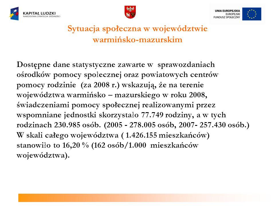 Sytuacja społeczna w województwie warmińsko-mazurskim Dostępne dane statystyczne zawarte w sprawozdaniach ośrodków pomocy społecznej oraz powiatowych