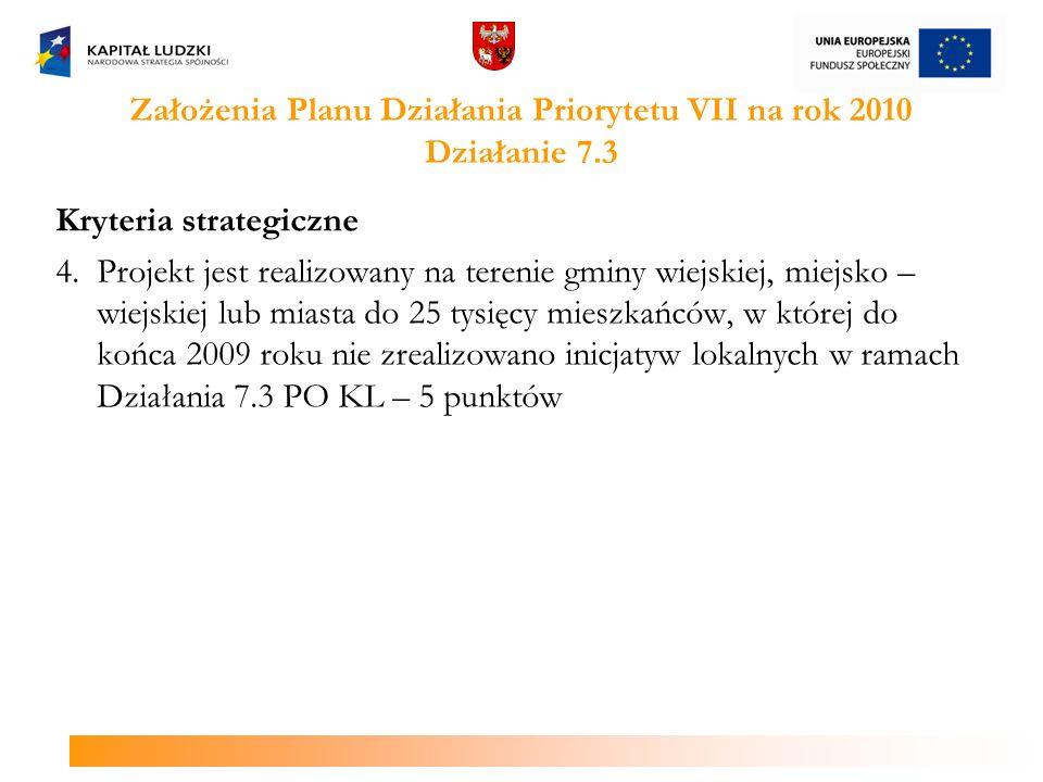 Założenia Planu Działania Priorytetu VII na rok 2010 Działanie 7.3 Kryteria strategiczne 4. Projekt jest realizowany na terenie gminy wiejskiej, miejs
