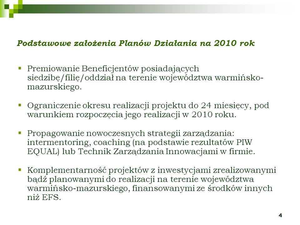 4 Podstawowe założenia Planów Działania na 2010 rok Premiowanie Beneficjentów posiadających siedzibę/filię/oddział na terenie województwa warmińsko- mazurskiego.