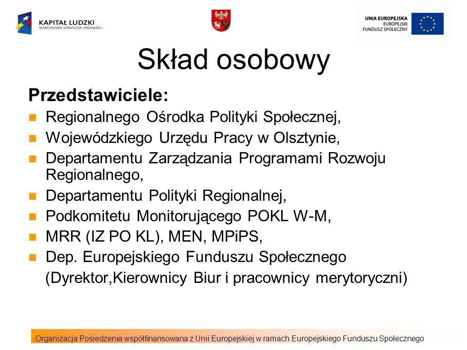 Skład osobowy Przedstawiciele: Regionalnego Ośrodka Polityki Społecznej, Wojewódzkiego Urzędu Pracy w Olsztynie, Departamentu Zarządzania Programami Rozwoju Regionalnego, Departamentu Polityki Regionalnej, Podkomitetu Monitorującego POKL W-M, MRR (IZ PO KL), MEN, MPiPS, Dep.