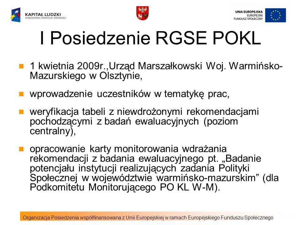 I Posiedzenie RGSE POKL 1 kwietnia 2009r.,Urząd Marszałkowski Woj.