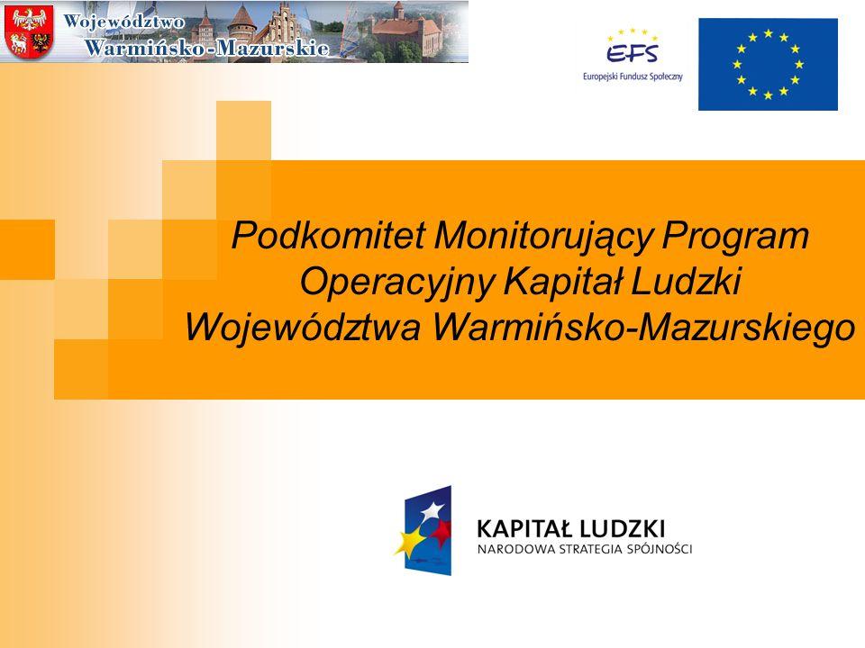 Podkomitet Monitorujący Program Operacyjny Kapitał Ludzki Województwa Warmińsko-Mazurskiego