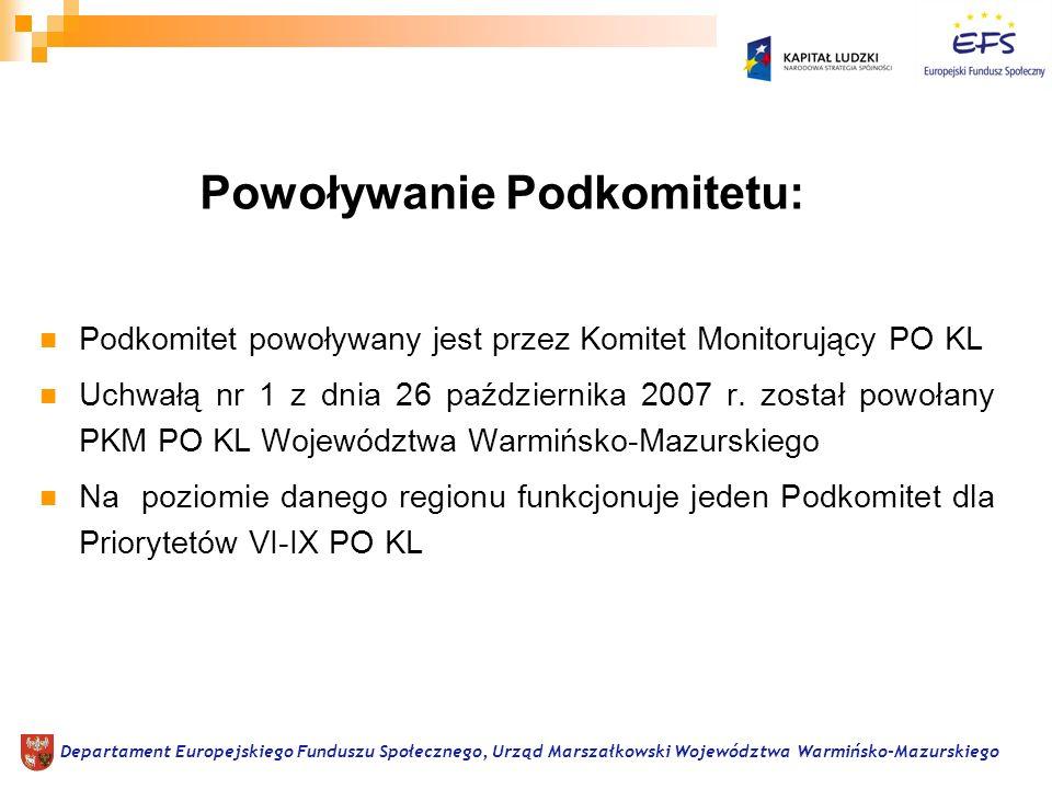 Podkomitet powoływany jest na okres realizacji PO KL, czyli na lata 2007-2013 Departament Europejskiego Funduszu Społecznego, Urząd Marszałkowski Województwa Warmińsko-Mazurskiego Okres pracy Podkomitetu: