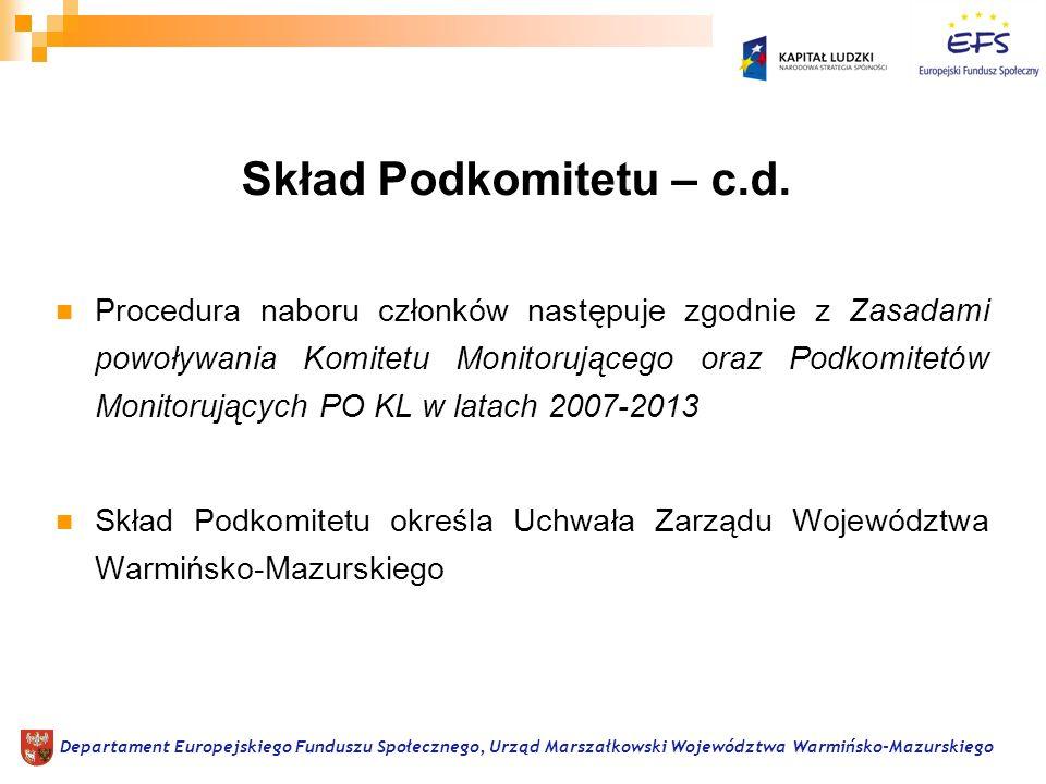 Procedura naboru członków następuje zgodnie z Zasadami powoływania Komitetu Monitorującego oraz Podkomitetów Monitorujących PO KL w latach 2007-2013 Skład Podkomitetu określa Uchwała Zarządu Województwa Warmińsko-Mazurskiego Departament Europejskiego Funduszu Społecznego, Urząd Marszałkowski Województwa Warmińsko-Mazurskiego Skład Podkomitetu – c.d.