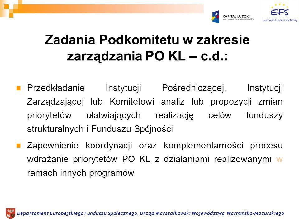 Przedkładanie Instytucji Pośredniczącej, Instytucji Zarządzającej lub Komitetowi analiz lub propozycji zmian priorytetów ułatwiających realizację celów funduszy strukturalnych i Funduszu Spójności Zapewnienie koordynacji oraz komplementarności procesu wdrażanie priorytetów PO KL z działaniami realizowanymi w ramach innych programów Departament Europejskiego Funduszu Społecznego, Urząd Marszałkowski Województwa Warmińsko-Mazurskiego Zadania Podkomitetu w zakresie zarządzania PO KL – c.d.:
