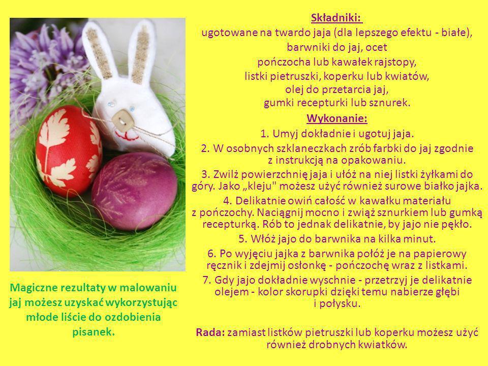 Składniki: ugotowane na twardo jaja (dla lepszego efektu - białe), barwniki do jaj, ocet pończocha lub kawałek rajstopy, listki pietruszki, koperku lu