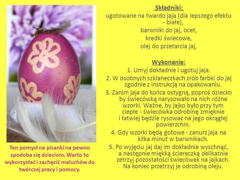Składniki: ugotowane na twardo jaja (dla lepszego efektu - białe), barwniki do jaj, ocet, kredki świecowe, olej do przetarcia jaj, Wykonanie: 1. Umyj