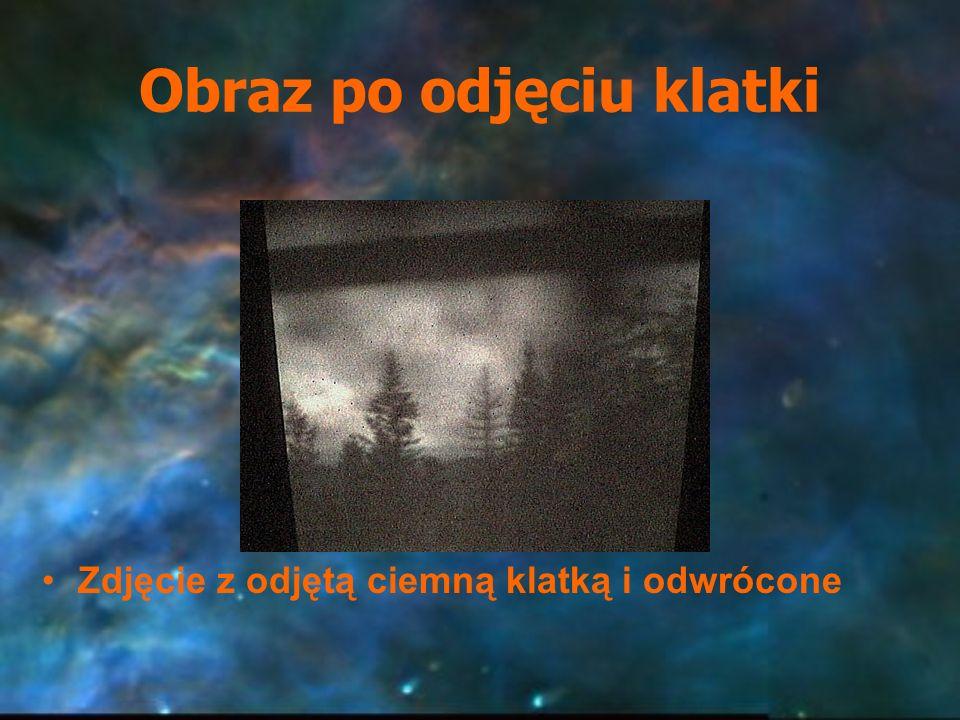 Obraz po odjęciu klatki Zdjęcie z odjętą ciemną klatką i odwrócone