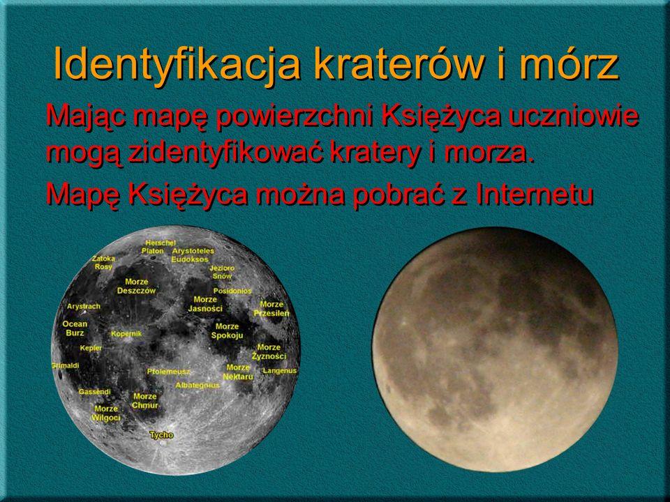 Identyfikacja kraterów i mórz Mając mapę powierzchni Księżyca uczniowie mogą zidentyfikować kratery i morza. Mapę Księżyca można pobrać z Internetu Ma