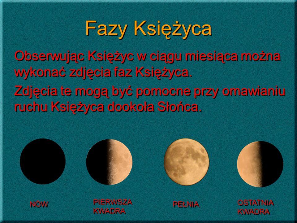Fazy Księżyca Obserwując Księżyc w ciągu miesiąca można wykonać zdjęcia faz Księżyca. Zdjęcia te mogą być pomocne przy omawianiu ruchu Księżyca dookoł