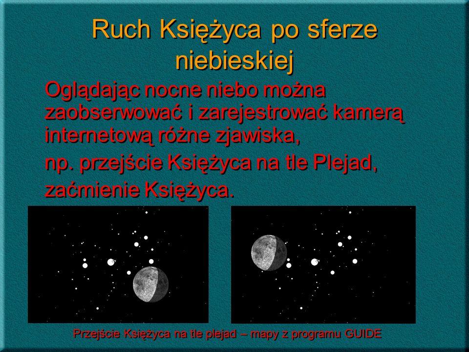 Ruch Księżyca po sferze niebieskiej Oglądając nocne niebo można zaobserwować i zarejestrować kamerą internetową różne zjawiska, np. przejście Księżyca