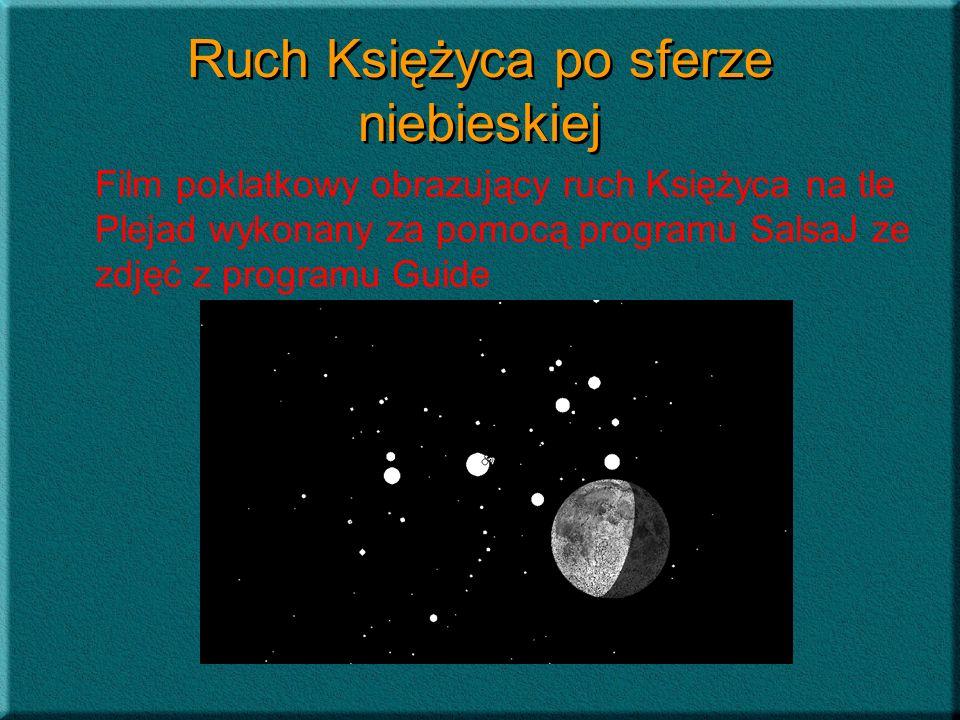Ruch Księżyca po sferze niebieskiej Film poklatkowy obrazujący ruch Księżyca na tle Plejad wykonany za pomocą programu SalsaJ ze zdjęć z programu Guid