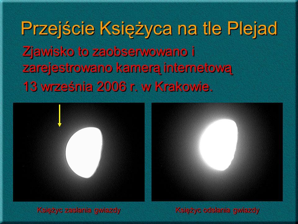 Przejście Księżyca na tle Plejad Zjawisko to zaobserwowano i zarejestrowano kamerą internetową 13 września 2006 r. w Krakowie. Zjawisko to zaobserwowa