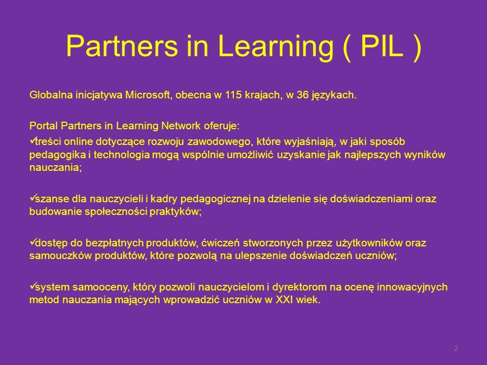 Partners in Learning ( PIL ) Globalna inicjatywa Microsoft, obecna w 115 krajach, w 36 językach.