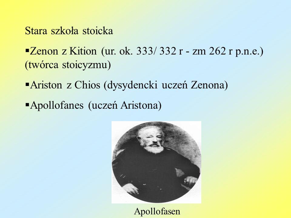 Stara szkoła stoicka Zenon z Kition (ur. ok. 333/ 332 r - zm 262 r p.n.e.) (twórca stoicyzmu) Ariston z Chios (dysydencki uczeń Zenona) Apollofanes (u