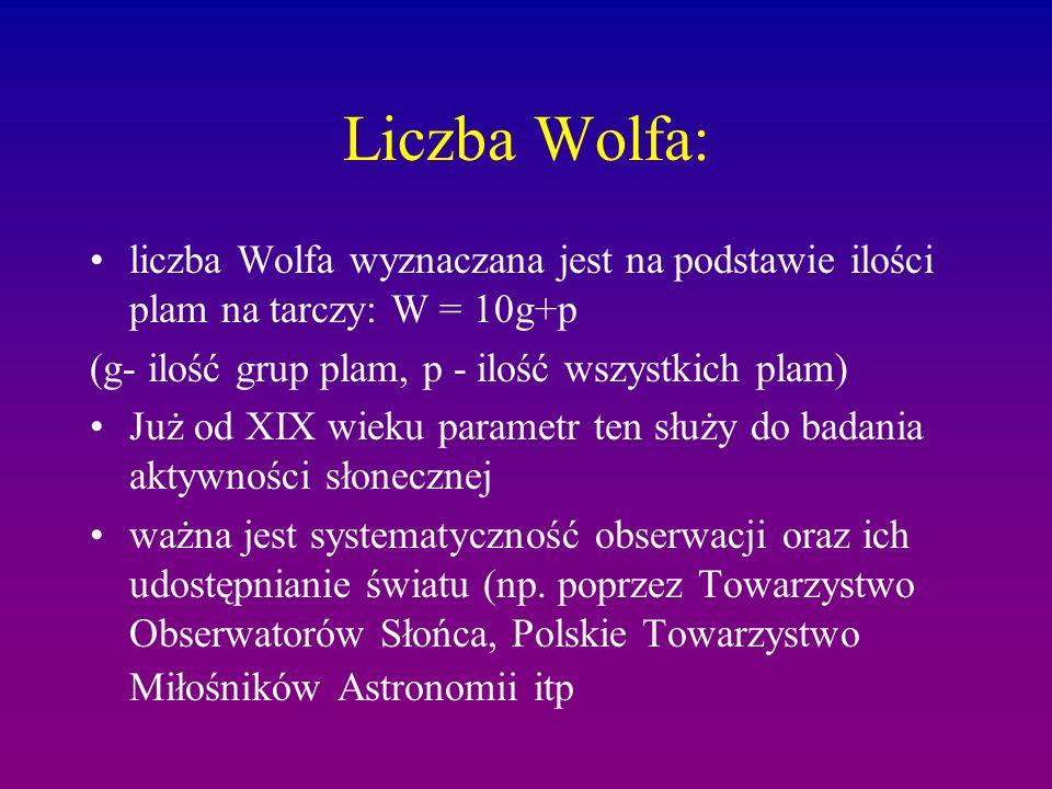 Liczba Wolfa: liczba Wolfa wyznaczana jest na podstawie ilości plam na tarczy: W = 10g+p (g- ilość grup plam, p - ilość wszystkich plam) Już od XIX wieku parametr ten służy do badania aktywności słonecznej ważna jest systematyczność obserwacji oraz ich udostępnianie światu (np.