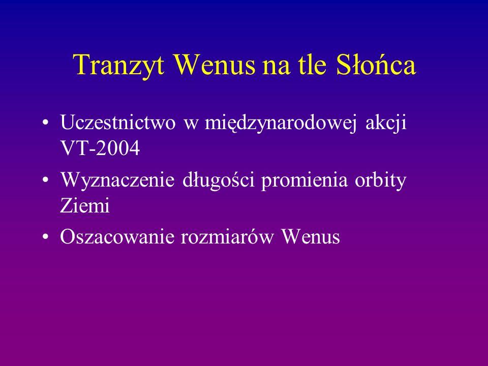 Tranzyt Wenus na tle Słońca Uczestnictwo w międzynarodowej akcji VT-2004 Wyznaczenie długości promienia orbity Ziemi Oszacowanie rozmiarów Wenus