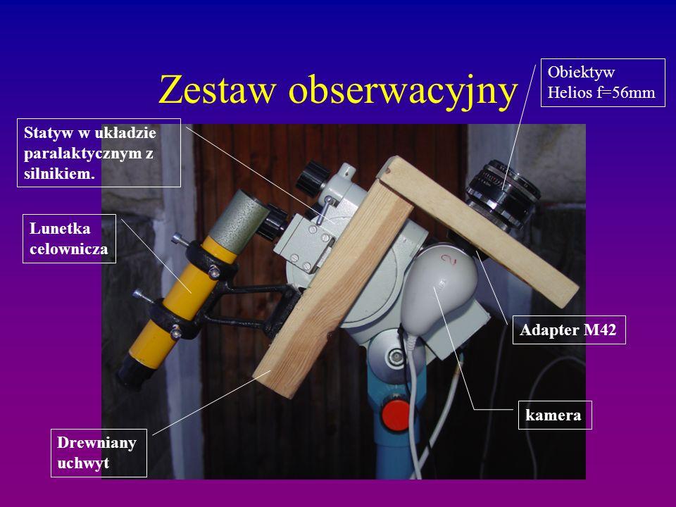 Zestaw obserwacyjny kamera Adapter M42 Obiektyw Helios f=56mm Drewniany uchwyt Lunetka celownicza Statyw w układzie paralaktycznym z silnikiem.