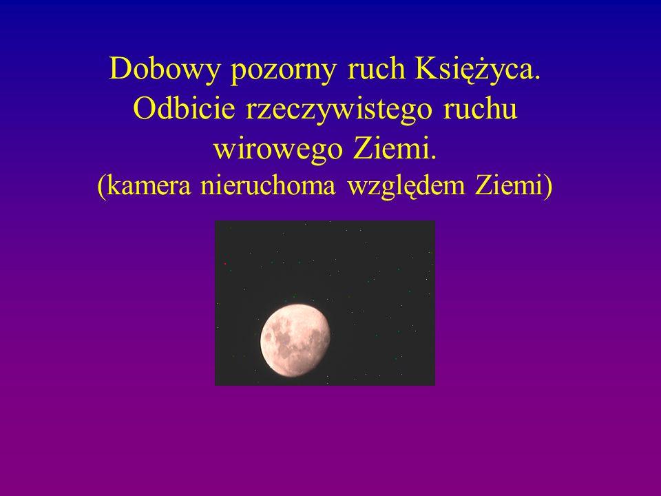 Dobowy pozorny ruch Księżyca. Odbicie rzeczywistego ruchu wirowego Ziemi. (kamera nieruchoma względem Ziemi)