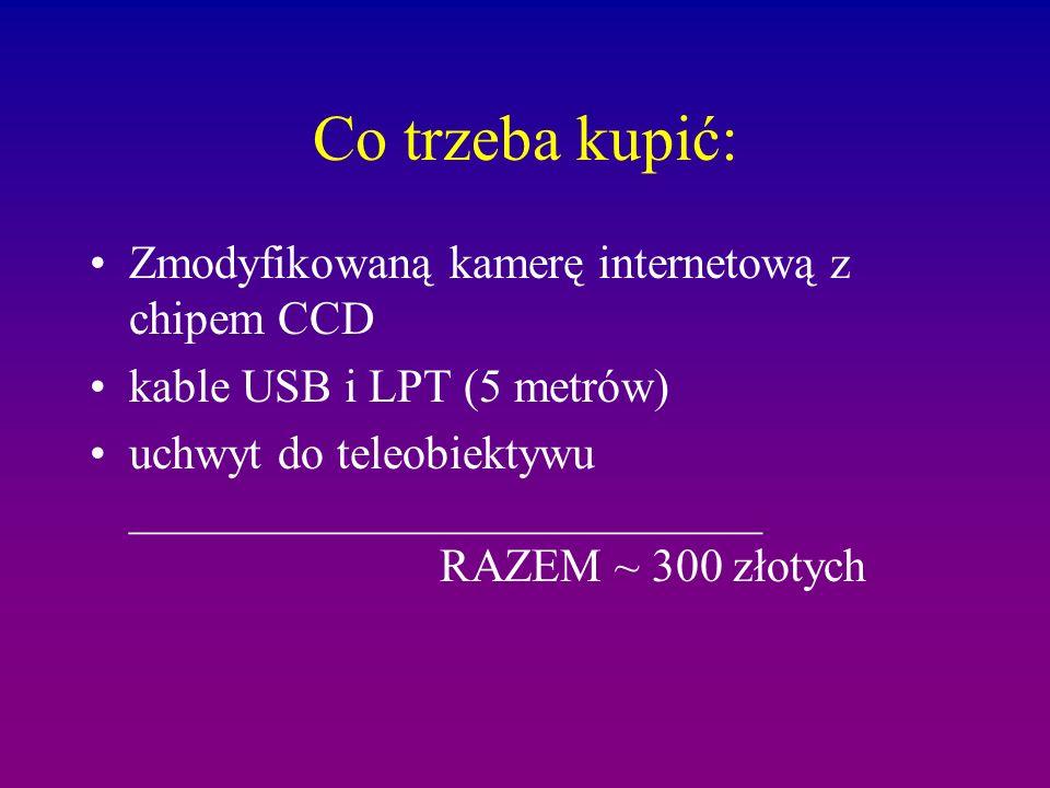 Co trzeba kupić: Zmodyfikowaną kamerę internetową z chipem CCD kable USB i LPT (5 metrów) uchwyt do teleobiektywu ___________________________ RAZEM ~ 300 złotych